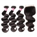 HJ Beauty Malaysian Body Wave Free Part 4x4 Closure With 3 bundles Unprocessed Human Virgin Hair