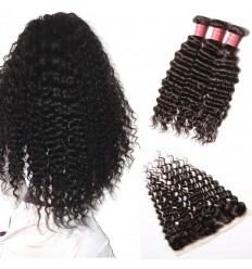 Indian Deep Wave 3 Bundles with Frontal Closure Deals
