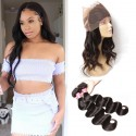 Virgin Malaysian Body Wave 2 Bundles with 1 Piece 360 Lace Frontal Closure
