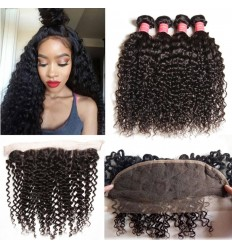 HJ Beauty Brazilian Curly Hair Free Part 13x4x4Bundles Curly Hair Bundles