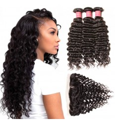 Malaysian Deep Wave Curly Hair 3 Bundles with 13*4 Ear to Ear Lace Frontal Closure