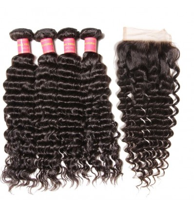 4 Bundles Malaysian Deep Wave Curly Hair with Lace Closure Free Part 4x4x4 7a Grade
