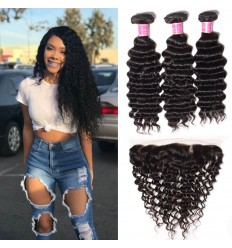Peruvian Virgin Deep Wave Curly Hair 3 Bundles with Ear to Ear 13*4 Lace Frontal Closure Deals HJ Beauty Hair