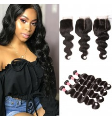 HJ Beauty Human Hair Virgin Indian Body Wave Weave 4 Bundles With Lace Closure
