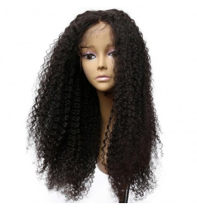 Kinky Curly Lace Frontal Human Hair Wigs Black Remy Hair Pre Plucked Bleached Knots