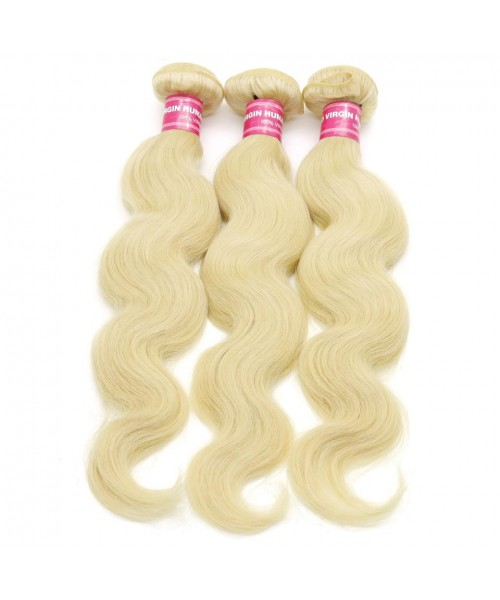 Brazilian Body Wave Blonde Hair Weaves 613 Color 3 Bundles 100 Remy