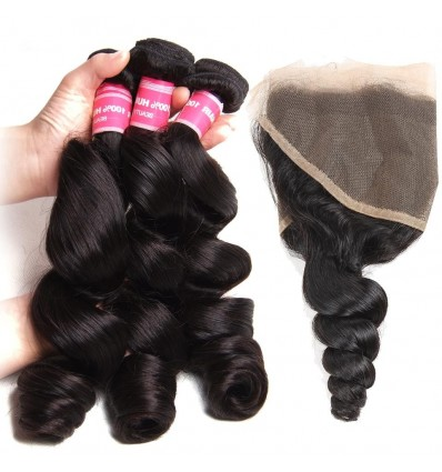 HJ Beauty Hair Malaysian Loose Wave 3 Bundles with 13x4 Ear to Ear Lace Frontal Closure