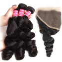 Malaysian Loose Wave 3 Bundles with 13x4 Ear to Ear Lace Frontal Closure HJ Beauty Hair