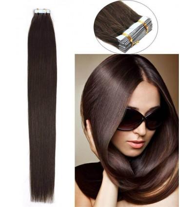 HJ Beauty 20pcs Straight Tape In Hair Extensions 100% Virgin Hair 2 Dark Brown 50g