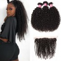 HJ Beauty Hair Indian Curly Hair 3 Bundles with Lace Frontal Closure Ear to Ear 13x4 Closure