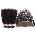 Indian Curly Hair 3 Bundles with Lace Frontal Closure Ear to Ear 13x4 Closure HJ Beauty Hair