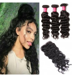 HJ Beauty Malaysian Natural Wave hair 3 Bundles with Lace Closure Unprocessed Human Virgin Hair