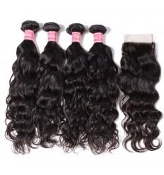 Malaysian Natural Wave 4 Bundles with Lace free Part Closure 7A Grade Virgin Human Hair Weaves HJ Beauty Hair