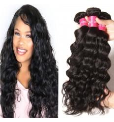 HJ Beauty Hair 3 Pieces pack Peruvian Natural Wave Virgin Human Hair Bundles Natural Color