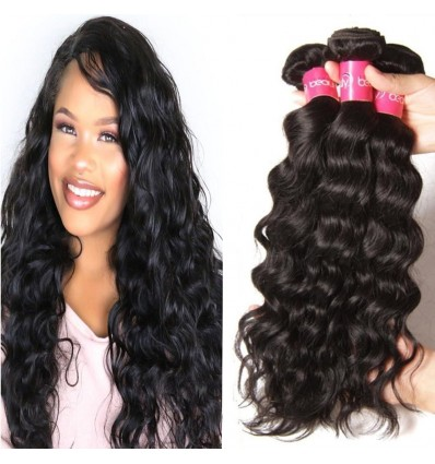 HJ Beauty Hair 3 Pieces pack Peruvian Natural Wave Virgin Human Hair Bundles Natural Color