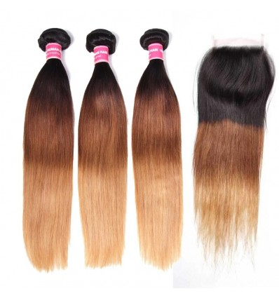 Straight Human Hair 3 Bundles with Lace Closure