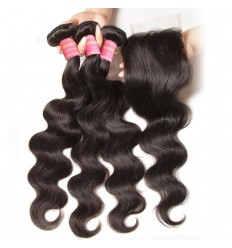 Peruvian Body Wave Lace Closure With 3 pcs Human Virgin Hair Weave