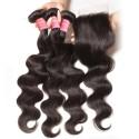 Peruvian Body Wave Lace Closure With 3 pcs Human Virgin Hair Weave
