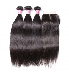 HJ Beauty 7A Malaysian Straight Virgin Hair 3 Bundles with 4x4 Lace Closure