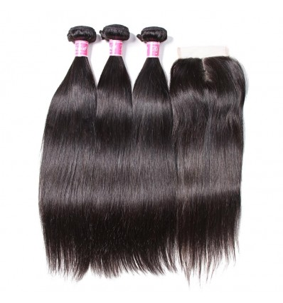 HJ Beauty 7A Malaysian Straight Virgin Hair 3 Bundles with 4x4 Lace Closure