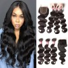 HJ Beauty Brazilian Hair Body Wave Virgin Human Hair 3 Bundles with 1pc Lace Closure