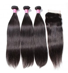 Indian Straight Hair 3 Pcs with 4x4 Lace Closure Deals