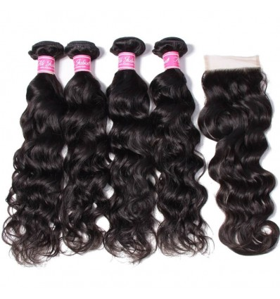 HJ Beauty Hair Indian Natural Wave 4 Bundles with Free Part Lace Closure Human Hair