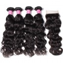 7A Grade Indian Natural Wave 4 Bundles with Free Part Lace Closure 100% Virgin Human Hair Weave on Sale HJ Beauty Hair