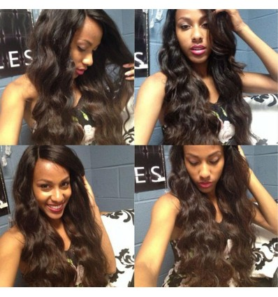 7a Virgin Malaysian Body Wave 4 Bundles with Lace Closure No Shedding and Tangle Free HJ Beauty Hair