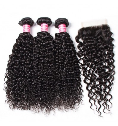 HJ Beauty Brazilian Virgin Curly Hair 3 Bundles With Closure Unprocessed Human Hair Extension