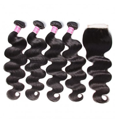 Peruvian Virgin Body Wave 4 Pcs with Lace Closure 7a Grade Virgin Human Hair Weave Extensions