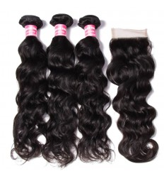 HJ Beauty 7A Brazilian Virgin Hair Natural wave 3 Bundles with 1piece Lace Closure Human Hair