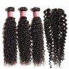 HJ Beauty 3 Bundles Indian Jerry Curly Human Hair Bundles With Lace Closure