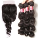 HJ Beauty 7A Brazilian Loose Wave Human Virgin Hair 3 Bundles with Closure Natural Color