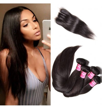 HJ Beauty 3 pcs Human Virgin Brazilian Hair Straight Bundles With Lace Closure
