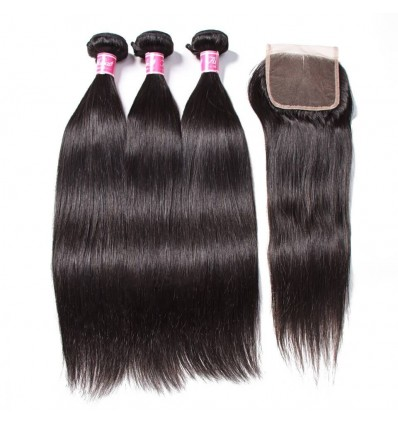 HJ Beauty Peruvian Straight Hair with Closure 3 Bundles Virgin Human Hair With 4x4 Lace Closure