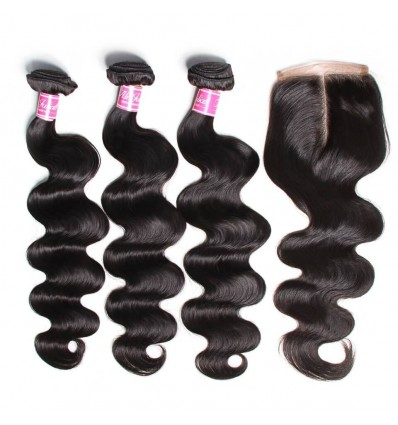 HJ Beauty Hair 7A Grade Virgin Brazilian Body Wave 3 Bundles with 4x4 Lace Closure