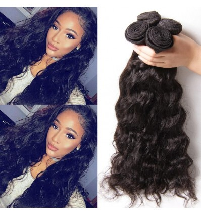 HJ Beauty Hair Malaysian Natural Wave Virgin Human Hair Bundles 4 Pieces pack Natural Color