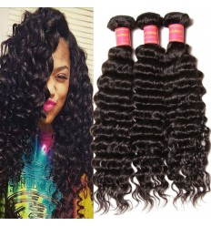 HJ Beauty Malaysian Deep Wave Virgin Human Hair Bundles Unprocessed Hair Extension