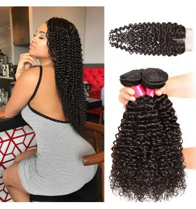 HJ Beauty Malaysian Curly Virgin Hair 4x4 Lace Closure With 3 bundles Human Hair Weft