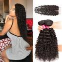 HJ Beauty Malaysian Curly Virgin Hair 4x4 Lace Closure With 3 bundles Human Hair Weft