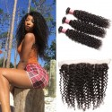 HJ Beauty Peruvian Curly Hair 3 Bundles with Lace Frontal Closure