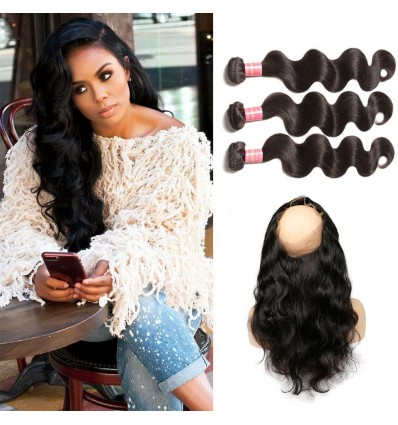 Malaysian Body Wave 360 Lace Frontal Closure With 3 Bundles Virgin