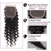 HJ Beauty Brazilian Deep Wave Virgin Hair 4x4 Free Part Lace Closure with 3 Bundles Weave