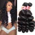 HJ Beauty Brazilian Loose Wave Virgin Hair Weave 3 Bundles Unprocessed Human Hair Extensions