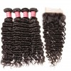 HJ Beauty Brazilian Deep Wave 4 pcs pack Real Human Hair Bundles with Closure