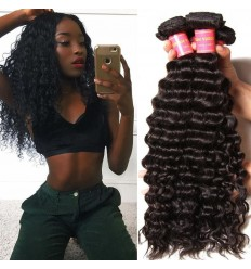 Brazilian Deep Wave Unprocessed Human Virgin Hair 4pieces pack Natural Color