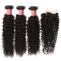 HJ Beauty Peruvian Virgin Curly Hair 1Pc Closure With 3 Bundles Of Curly Hair Weaves