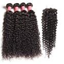 HJ Beauty Malaysian Virgin Curly Hair 4 Bundles With Closure Human Virgin Hair Extensions