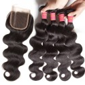 HJ Beauty Brazilian Body Wave 4 Bundles With Lace Closure Human Virgin Hair Extension